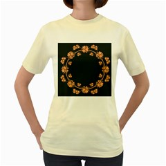 Floral Vintage Royal Frame Pattern Women s Yellow T Shirt