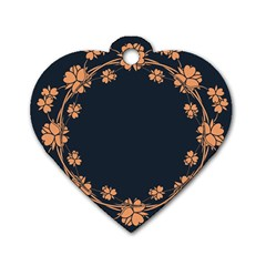 Floral Vintage Royal Frame Pattern Dog Tag Heart (one Side)