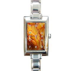 Flowers Leaves Leaf Floral Summer Rectangle Italian Charm Watch by Nexatart