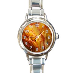 Flowers Leaves Leaf Floral Summer Round Italian Charm Watch by Nexatart