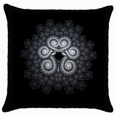 Fractal Filigree Lace Vintage Throw Pillow Case (black) by Nexatart
