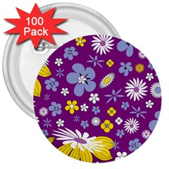 Floral Flowers 3  Buttons (100 Pack)