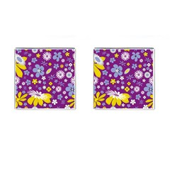 Floral Flowers Cufflinks (square)