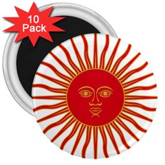 Peru Sun Of May, 1822 1825 3  Magnets (10 Pack)  by abbeyz71