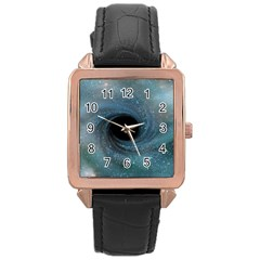 Cosmic Black Hole Rose Gold Leather Watch