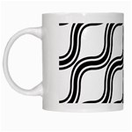 Diagonal Pattern Background Black And White White Mugs Left