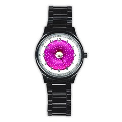 Donut Transparent Clip Art Stainless Steel Round Watch by Sapixe