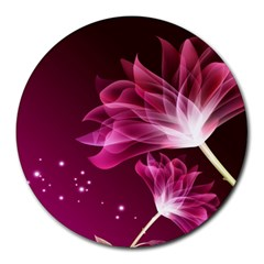 Drawing Flowers Lotus Round Mousepads by Sapixe
