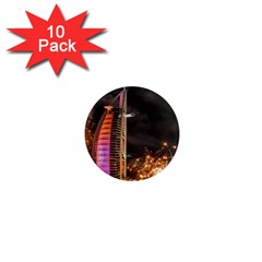 Dubai Burj Al Arab Hotels New Years Eve Celebration Fireworks 1  Mini Magnet (10 Pack)