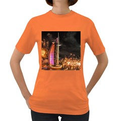 Dubai Burj Al Arab Hotels New Years Eve Celebration Fireworks Women s Dark T Shirt by Sapixe