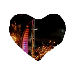 Dubai Burj Al Arab Hotels New Years Eve Celebration Fireworks Standard 16  Premium Flano Heart Shape Cushions by Sapixe