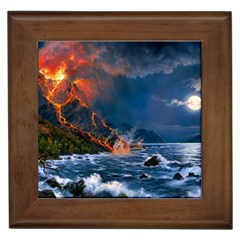 Eruption Of Volcano Sea Full Moon Fantasy Art Framed Tiles by Sapixe