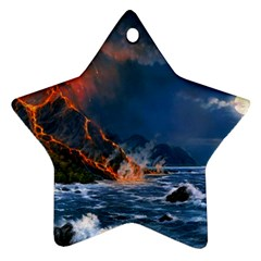 Eruption Of Volcano Sea Full Moon Fantasy Art Ornament (star) by Sapixe