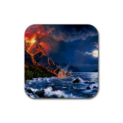 Eruption Of Volcano Sea Full Moon Fantasy Art Rubber Square Coaster (4 Pack)