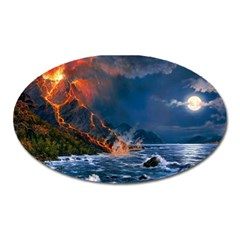 Eruption Of Volcano Sea Full Moon Fantasy Art Oval Magnet by Sapixe