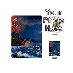 Eruption Of Volcano Sea Full Moon Fantasy Art Playing Cards 54 (mini)  by Sapixe