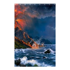 Eruption Of Volcano Sea Full Moon Fantasy Art Shower Curtain 48  X 72  (small)