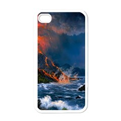Eruption Of Volcano Sea Full Moon Fantasy Art Apple Iphone 4 Case (white) by Sapixe
