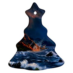 Eruption Of Volcano Sea Full Moon Fantasy Art Ornament (christmas Tree)  by Sapixe