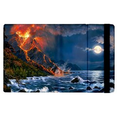 Eruption Of Volcano Sea Full Moon Fantasy Art Apple Ipad 2 Flip Case by Sapixe