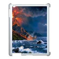 Eruption Of Volcano Sea Full Moon Fantasy Art Apple Ipad 3/4 Case (white)