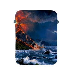 Eruption Of Volcano Sea Full Moon Fantasy Art Apple Ipad 2/3/4 Protective Soft Cases by Sapixe