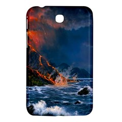 Eruption Of Volcano Sea Full Moon Fantasy Art Samsung Galaxy Tab 3 (7 ) P3200 Hardshell Case  by Sapixe