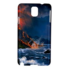 Eruption Of Volcano Sea Full Moon Fantasy Art Samsung Galaxy Note 3 N9005 Hardshell Case by Sapixe