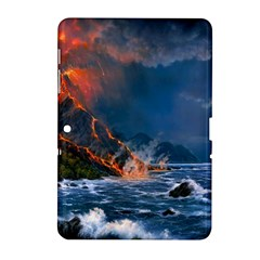 Eruption Of Volcano Sea Full Moon Fantasy Art Samsung Galaxy Tab 2 (10 1 ) P5100 Hardshell Case  by Sapixe