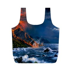 Eruption Of Volcano Sea Full Moon Fantasy Art Full Print Recycle Bags (m)
