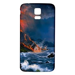 Eruption Of Volcano Sea Full Moon Fantasy Art Samsung Galaxy S5 Back Case (white) by Sapixe