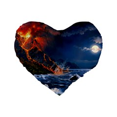 Eruption Of Volcano Sea Full Moon Fantasy Art Standard 16  Premium Flano Heart Shape Cushions by Sapixe