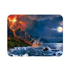 Eruption Of Volcano Sea Full Moon Fantasy Art Double Sided Flano Blanket (mini)  by Sapixe