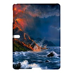 Eruption Of Volcano Sea Full Moon Fantasy Art Samsung Galaxy Tab S (10 5 ) Hardshell Case  by Sapixe