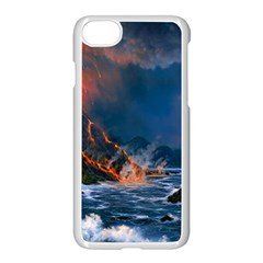 Eruption Of Volcano Sea Full Moon Fantasy Art Apple Iphone 7 Seamless Case (white) by Sapixe
