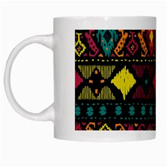 Ethnic Pattern White Mugs