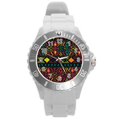 Ethnic Pattern Round Plastic Sport Watch (l)