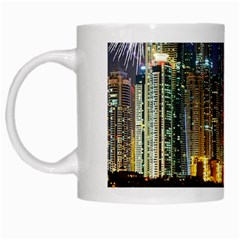 Dubai City At Night Christmas Holidays Fireworks In The Sky Skyscrapers United Arab Emirates White Mugs