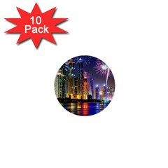 Dubai City At Night Christmas Holidays Fireworks In The Sky Skyscrapers United Arab Emirates 1  Mini Buttons (10 Pack)