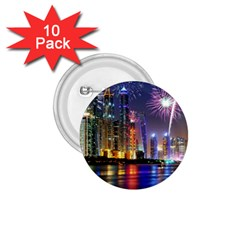 Dubai City At Night Christmas Holidays Fireworks In The Sky Skyscrapers United Arab Emirates 1 75  Buttons (10 Pack) by Sapixe