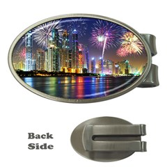 Dubai City At Night Christmas Holidays Fireworks In The Sky Skyscrapers United Arab Emirates Money Clips (oval)