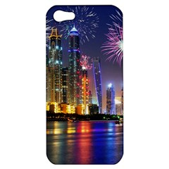 Dubai City At Night Christmas Holidays Fireworks In The Sky Skyscrapers United Arab Emirates Apple Iphone 5 Hardshell Case by Sapixe