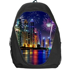 Dubai City At Night Christmas Holidays Fireworks In The Sky Skyscrapers United Arab Emirates Backpack Bag