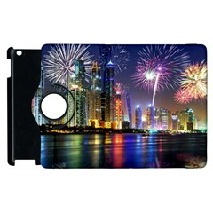 Dubai City At Night Christmas Holidays Fireworks In The Sky Skyscrapers United Arab Emirates Apple Ipad 2 Flip 360 Case by Sapixe