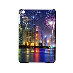 Dubai City At Night Christmas Holidays Fireworks In The Sky Skyscrapers United Arab Emirates Ipad Mini 2 Hardshell Cases by Sapixe