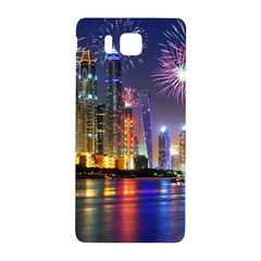 Dubai City At Night Christmas Holidays Fireworks In The Sky Skyscrapers United Arab Emirates Samsung Galaxy Alpha Hardshell Back Case by Sapixe