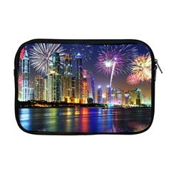 Dubai City At Night Christmas Holidays Fireworks In The Sky Skyscrapers United Arab Emirates Apple Macbook Pro 17  Zipper Case by Sapixe