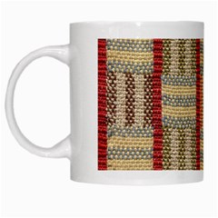 Fabric Pattern White Mugs