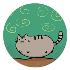 Fat Cat Magnet 5  (round)