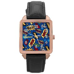 Fabric Comic Words Rose Gold Leather Watch